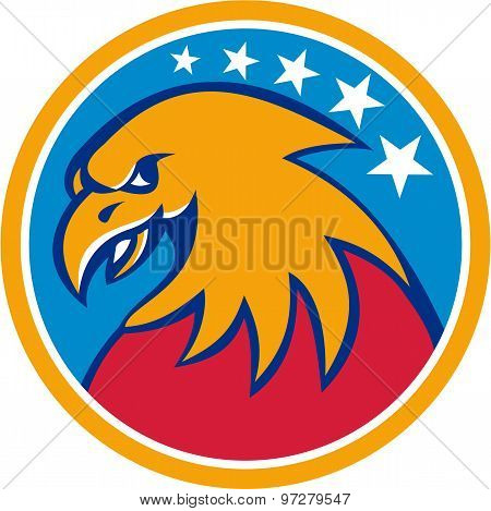 American Bald Eagle Head Stars Circle Retro