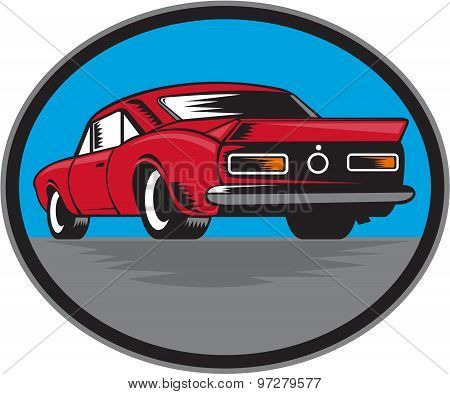 American Vintage Muscle Car Rear Woodcut