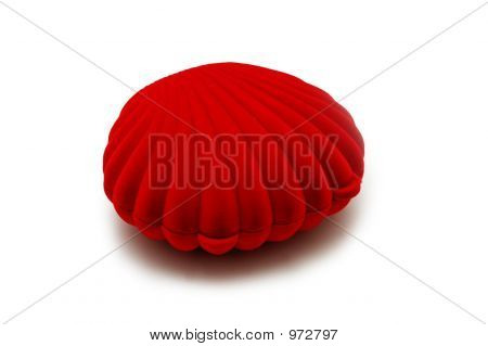 Red Box Shaped As Pearl Shell Isolated On White
