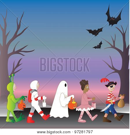 Vector art trick or treat parade