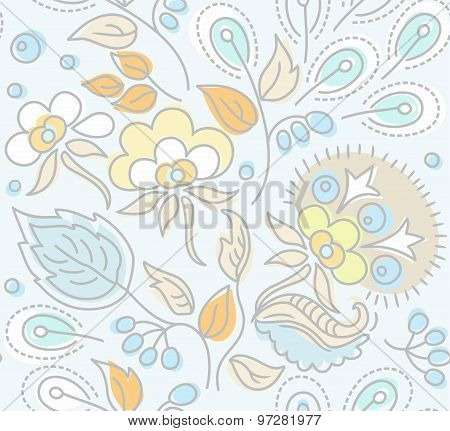 Seamless, Floral Pattern, Yel...