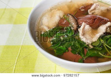 Pork's Entrails And Blood Jelly Soup (tom Lued Moo), Pork Blood Soup.