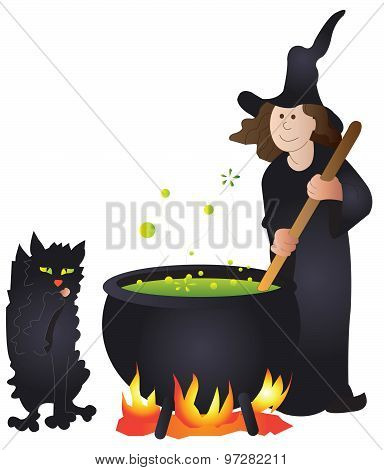 Witch with black cat and cauldron