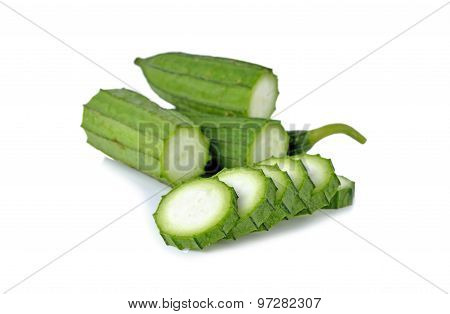 Fresh Angled Loofah, Gourd With Stem On White Background