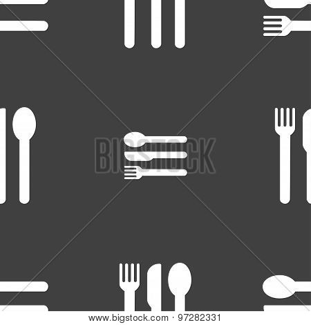 Fork, Knife, Spoon Icon Sign. Seamless Pattern On A Gray Background. Vector