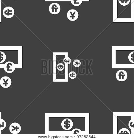 Currencies Of The World Icon Sign. Seamless Pattern On A Gray Background. Vector