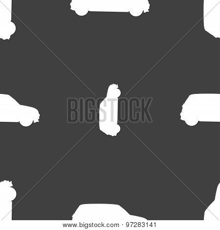 Jeep Icon Sign. Seamless Pattern On A Gray Background. Vector