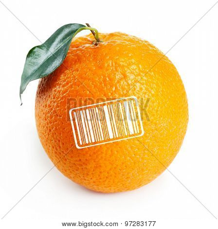 Juicy orange with barcode isolated on white