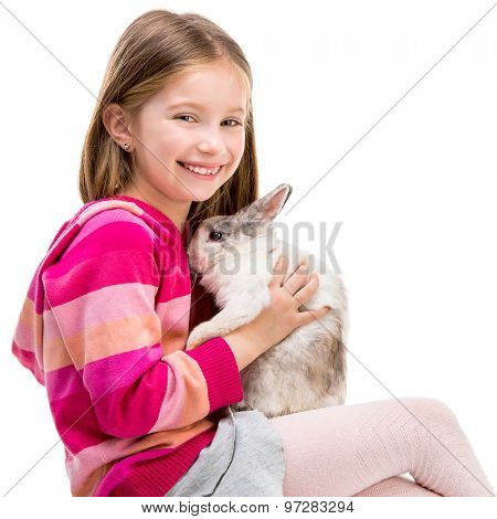 smiling girl in a crimson sweater  with baby rabbit isolated over white close-up