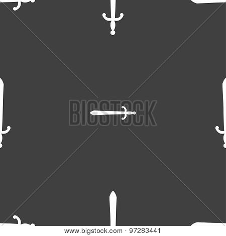 The Sword Icon Sign. Seamless Pattern On A Gray Background. Vector