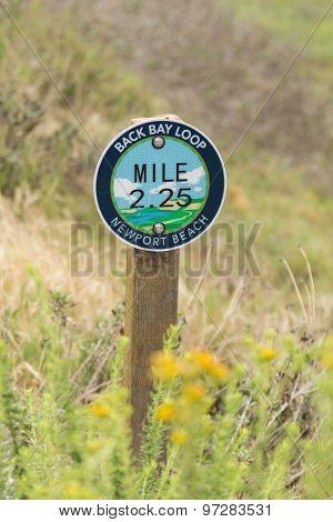 Back Bay hiking trail mile marker