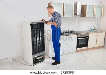 Repairman Repairing Refrigerator