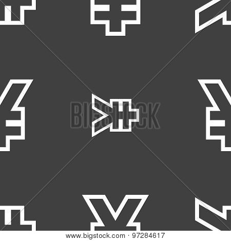 Yen Jpy Icon Sign. Seamless Pattern On A Gray Background. Vector