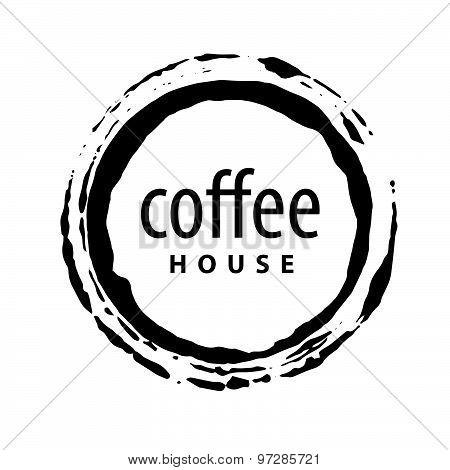 Vector Logo Round Imprint Of Coffee