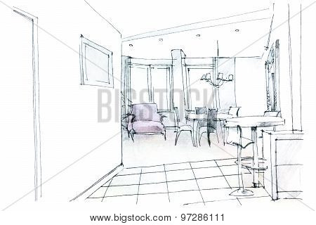 Modern Residential Hall Interior Sketch
