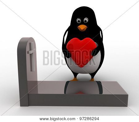 3D Penguin Putting Heart On Grave Concept