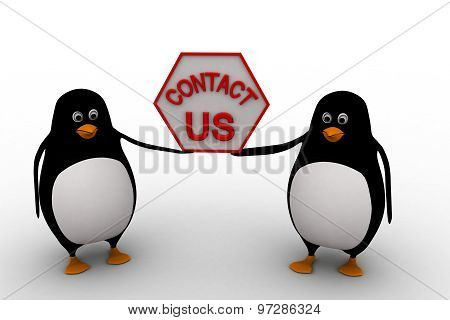 3D Penguin Holding Contact Us Sign Board For Service Concept