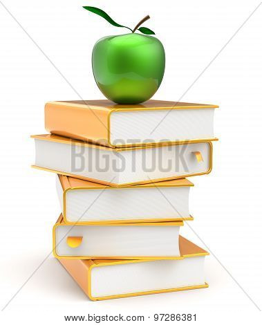 Green Apple Golden Books Stack Yellow Textbooks Gold Icon