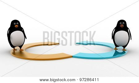 3D Two Penguin Standing On Two Half Circular Arrow Concept