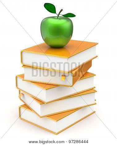 Gold Books Stack Golden Yellow Textbooks Green Apple
