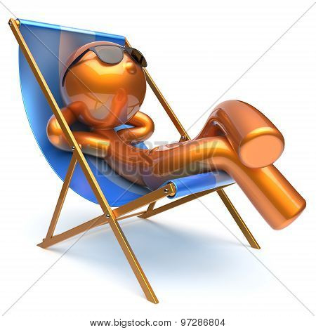 Man Carefree Relaxing Chilling Beach Deck Chair Outdoor Icon