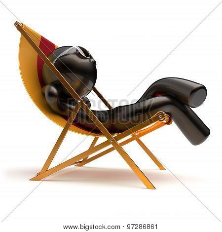 Chilling Man Summer Relax Carefree Sunburn Beach Deck Chair