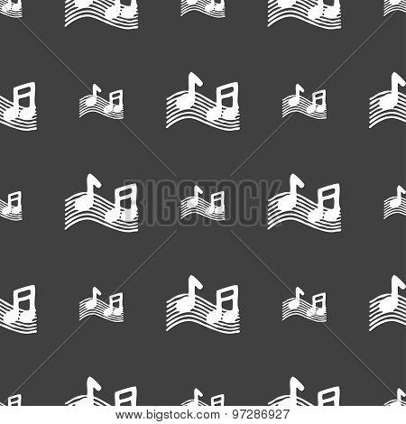 Musical Note, Music, Ringtone Icon Sign. Seamless Pattern On A Gray Background. Vector