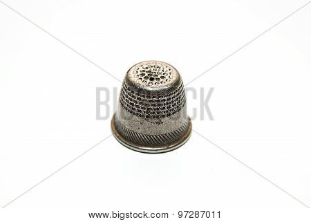 Iron Thimble For Hand Embroidery On A White Background