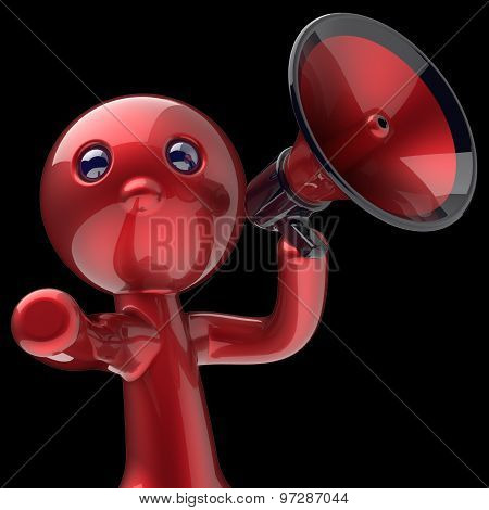 Man Megaphone Character Speak Announcement Red Stylized