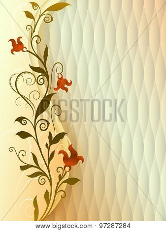 Abstract vintage flower vector background with copy space.