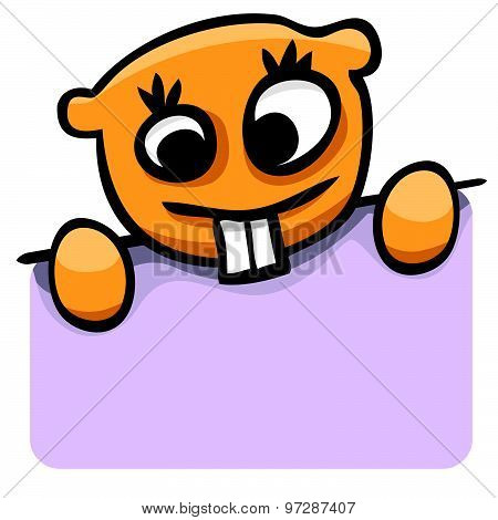 Vector Cartoon Gopher With A Poster