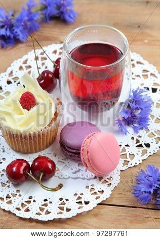 sweet breakfast on wooden table