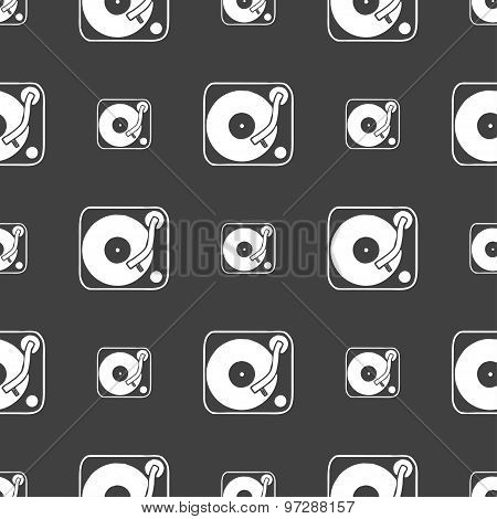 Gramophone, Vinyl Icon Sign. Seamless Pattern On A Gray Background. Vector