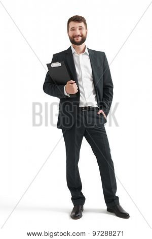 full length portrait of happy businessman with folder. isolated on white background