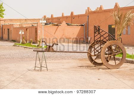 OUARZAZATE, MOROCCO - APRIL 10, 2015: Scenery in Atlas Film Studios, one of the largest movie studios in the world, in terms of land area. Several historical movies were shot here
