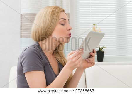 Woman Taking Selfie With Digital Tablet