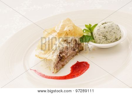 tasty strudel with ice cream