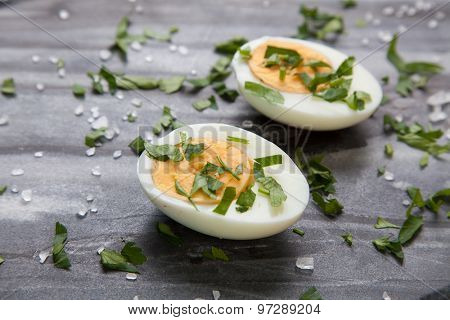 Boiled eggs on a marble table