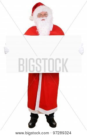 Santa Claus Holding Empty Banner On Christmas Isolated