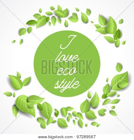 Round frame with green leaves. Green leaves frame in the shape of a round. Background for advertising, leaflet, cards, invitation and so on.