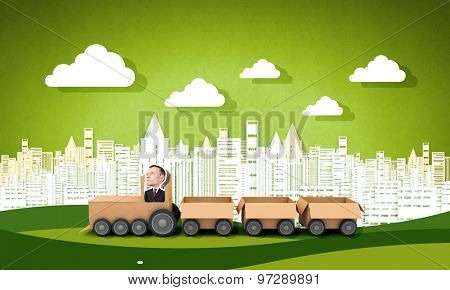 Funny cartoon image of businessman riding carton box