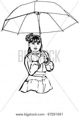 Sketch Of A Beautiful Little Girl Under The Big Umbrella