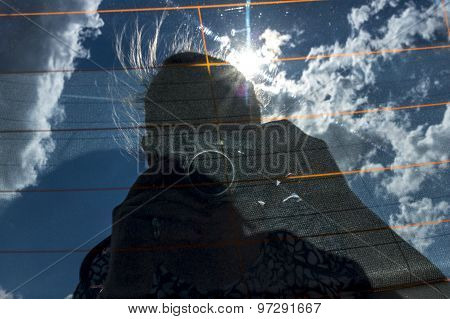 Human Silhouette With Photo Camera Against Sky, Mirror Reflection