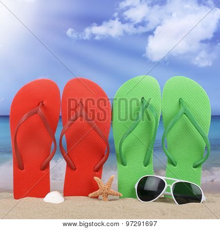 Beach Scene With Sandals Sun In Summer Vacation