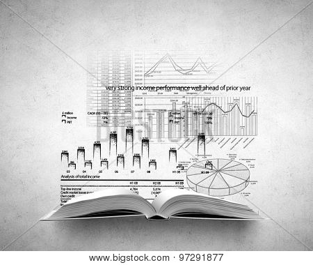 Opened book with business sketches and market concept