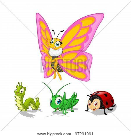 Insect Cartoon Character Vector Illustration Pack One Include Butterfly, Caterpillar, Grasshopper a