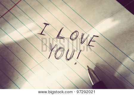 I love you written on lined paper