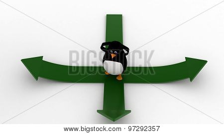 3D Penguin Confused To Decide Between Three Different Ways Concept