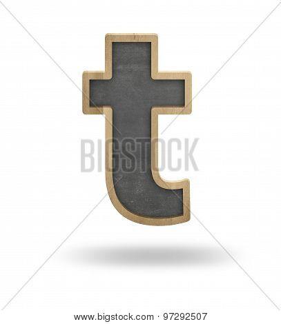 Black blank letter t shape blackboard