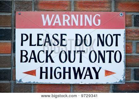 Backing Up Warning Sign